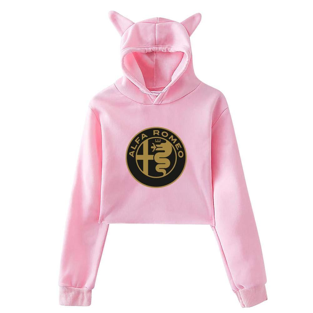Alfa-Romeo Car Logo Hoodie Cute Cat Ear Novelty Printed Sweatshirt Hood for Womens Girls Long Sleeve