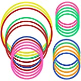 Hysagtek Plastic Toss Rings Carnival Rings for Kids Fun Target Toys, Quoits Ring Toss Game, Party Favor Games, Multicolor (21 Pcs 5 Sizes)
