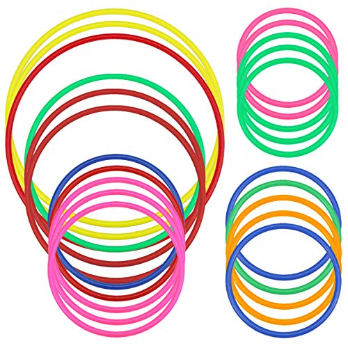 Hysagtek Plastic Toss Rings Carnival Rings for Kids Fun Target Toys, Quoits Ring Toss Game, Party Favor Games, Multicolor (21 Pcs 5 Sizes) -