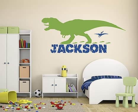 or Playroom White Custom Name Dinosaur Vinyl Wall Decal for Boys Room Small Sizes Orange Pink Blue Black Purple Large Personalized Sticker Decor for Boy or Girl Bedroom Other Colors
