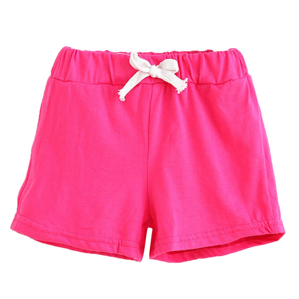 ❤️ Mealeaf ❤️ Summer Children Cotton Shorts Boys and Girl Clothes Baby Fashion Pants Hot/100(Hot Pink,100)