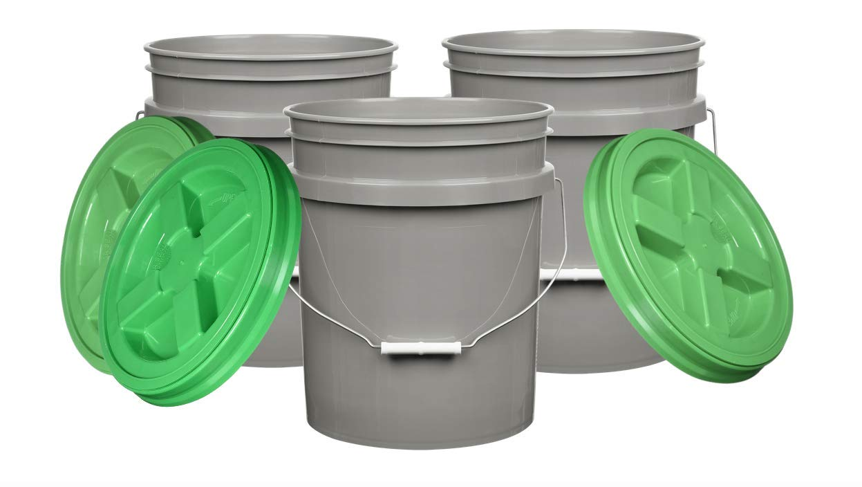 House Naturals 5 Gallon Food Grade Bucket Pail with Green Gamma Screw on Lid (Pack of 3) BPA Free Made in USA