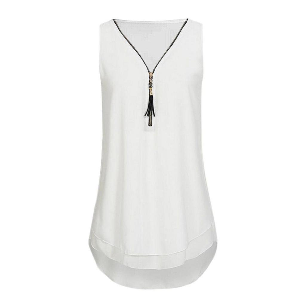 WOCACHI Christmas Clearance Women Chiffon Vest Cross Back Hem Layed Zipper Blouse Loose Sleeveless Tank Top Black Friday Cyber Monday Deals