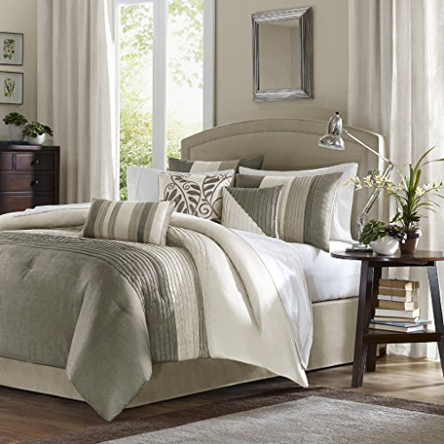 Madison Park Amherst Queen Size Bed Comforter Set Bed In A Bag - Khaki, Ivory, Pieced Stripes  7 Pieces Bedding Sets  Ultra Soft Microfiber Bedroom Comforters