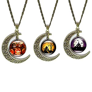 JUESJ Personality Bat Haunted House Pumpkin Light Moon Time Gemstone Necklace For Women Girls Christmas Gifts