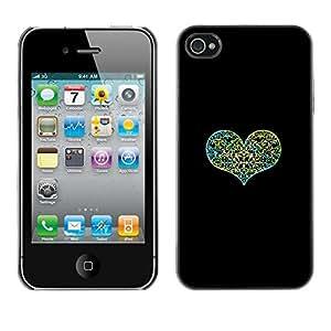 For iPhone 4 / 4S - Black Green Love Floral Heart /Modelo de la piel protectora de la cubierta del caso/ - Super Marley Shop -