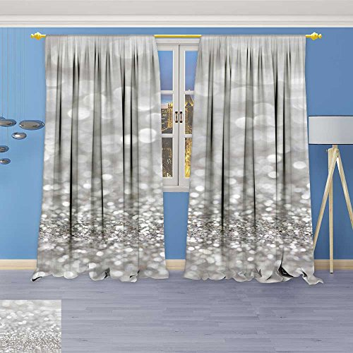 SOCOMIMI 5316 Panel Set Digital Printed Window Curtains Silver Glitter for Background with Blurred Lights for Bedroom Living Room Dining Room 96W x 72L inch