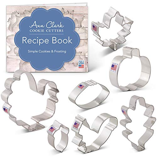 Fall Thanksgiving Cookie Cutter Set with Recipe Book - 7 Piece - Maple Leaf, Turkey, Oak Leaf, Pumpkin, Football, Acorn, Squirrel - Ann Clark - USA Made Steel -