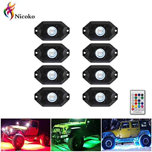 Nicoko Pods Lights RGB LED Rock Light Kits with remote control 10 solid colors Many Flashing Modes Neon Lights Under Off Road Truck SUV ATV Motorcycle wiring Harness,1 year warranty (Pack 8)