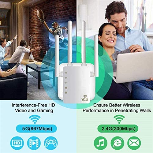 WiFi Range Extender, 1200Mbps Wireless Signal Repeater Booster, Dual Band 2.4G and 5G Extender, 4 Antennas 360° Full Coverage, Extend WiFi Signal to Smart Home & Alexa Devices(1200M White)