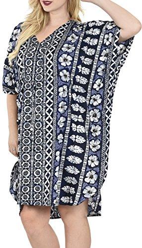 Vestito La Bagno Leela m543 Costumi Insabbiamento Dell'annata Blu Likre Dell'ibisco Liscio Da Spiaggia Caftano Tunica qXrC0nxXw4