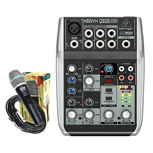 Package - Behringer Xenyx Q502USB Premium 5-Input 2-Bus Mixer + 1 EMB Emic800 Microphone by Package