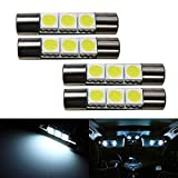 EX1 4 Pieces Car Sun Visor Vanity Mirror Light LED 3 SMD 29mm Light Bulb 6000K Xenon (White)