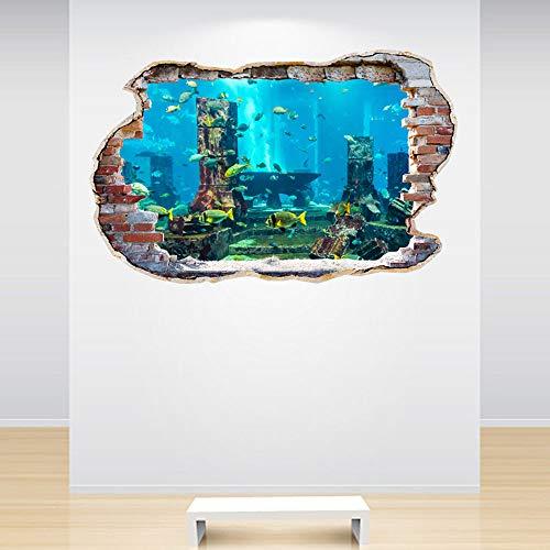 Fish Wall Decals - Full Colour Aquarium Smashed Wall 3D Effect Under The Sea Aquarium Ocean Bedroom Wall Sticker Decal Kids Bedroom Decorat