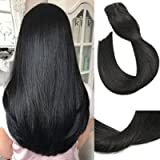 Clip in Human Hair Extensions 15Inch 7pcs 70g Set #1 Jet Black Silky Straight Top Grade 7A Clip-in Hair for Fashion…
