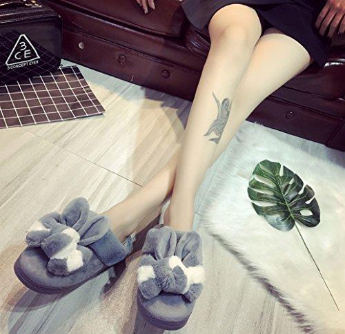 Minetom Slipper Gris Femmes d'ours H Chaudes Chaussons Hommes Peluche Unisex Hiver Chaussons Patte Coton Pantoufles Intérieure rqpZrgOA