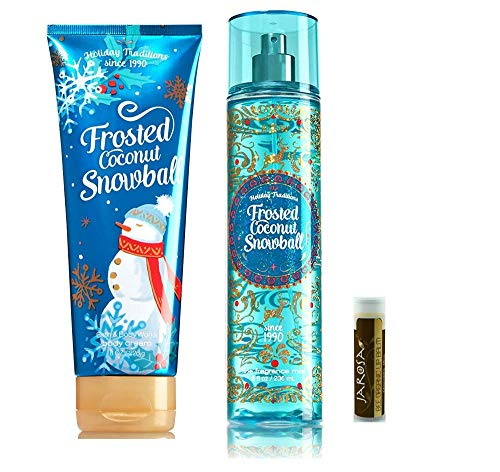 FROSTED COCONUT SNOWBALL Bath & Body Works Mist & Cream with a Jarosa Bee Organic Chocolate Bliss Lip Balm by Jarosa Gifts