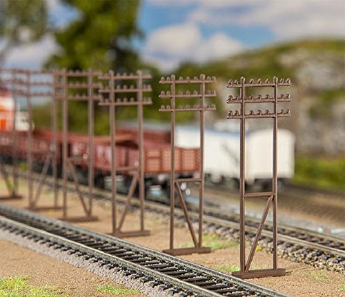 Ho Scale Telephone (Faller 180921 Double Mast Telephone Utility Pole Kit HO Scale 6 Per Package by Faller)