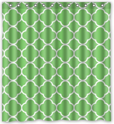 Cool design Moroccan Tile Quatrefoil Green and White Lattice