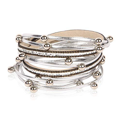 (RIAH FASHION Bohemian Faux Suede Leather Wrap Multi Layer Bracelet - Boho Wrist Adjustable Cuff Bangle Crystal Rhinestone/Metallic Bead/Natural Stone Embellishment (Metallic Ball Mix - Silver) )