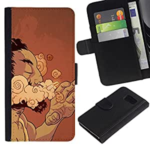 iKiki Tech / Cartera Funda Carcasa - Smoke Cigar Man Cloud Art Drawing Addiction - Samsung Galaxy S6 SM-G920