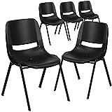 Flash Furniture 5 Pk. HERCULES Series 440 lb. Capacity Black Ergonomic Shell Stack