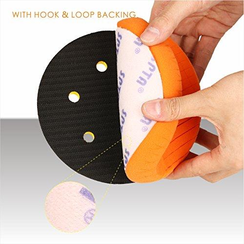 SPTA 5Pcs 7''/180mm Compound Buffing Sponge Pads Polishing Pads Kit Buffing Pad For Car Buffer Polisher Sanding,Polishing, Waxing by SPTA (Image #6)