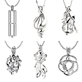 NY Jewelry Mix 6 Different Designs 925 Sterling Silver Cage Pendants (Rose, Conch, Mermaid, Cylindrical, Flower and Goldfish)
