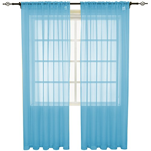 HOLKING 2 Piece Sheer Window Curtains Panels 84 inch length Blue Rod Pocket Sheer Voile Window Curtains Toal is 104 inches wide by 84 inches ()