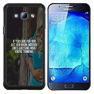 EJOOY---Cubierta de la caja de protección para la piel dura ** Samsung Galaxy A8 A8000 ** --cuidar su amor viñeta cartel texto blanco