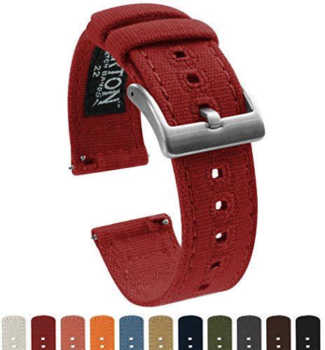 BARTON Canvas Quick Release Watch Band Straps - Choose Color & Width - 18mm, 20mm, 22mm - Crimson Red 20mm