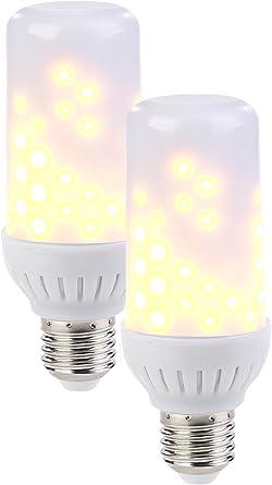 Luminea LED Feuersimulation: 2er Set LED Flammen Lampen mit