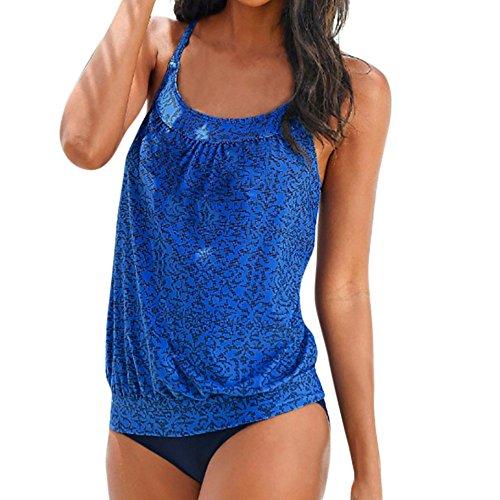 Women Tankini Swimsuit,Lelili Fashion Halter Bohemia Floral Printed Scoop Neck Tank Top +Hipster Bottoms Swimwear (2XL, Blue)
