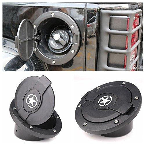 Athiry Satin Black Powder Coated Steel Door Cover Gas Cap Cover for Jeep Wrangler Accessories 2007-2017 JK & Unlimited 4 Door 2 Door Rubicon Sahara