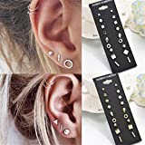 Guoshang 9 Pair Pack Sets Assorted Multiple Crystal Punk Geometric Stud Earring Jewelry Set for Women Girls,Silver