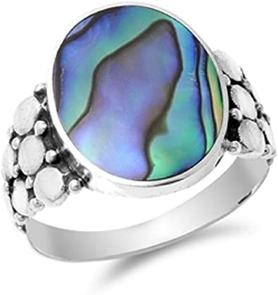 Princess Kylie Synthetic Abalone Square Designer Ring Sterling Silver
