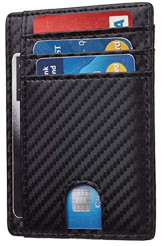 Toughergun RFID Blocking Minimalist Genuine Leather Slim Front Pocket Wallet U (01 Carbon Fiber Black)