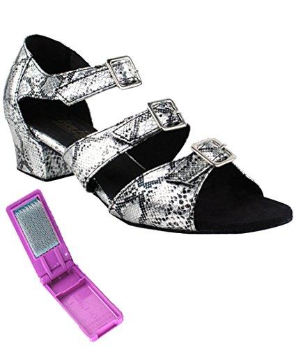 Very Fine Ballroom Latin Tango Zapatos De Baile De Salsa Para Mujer 1679 1.5 Pulgadas De Tacón + Cepillo Plegable Paquete De Serpiente De Plata
