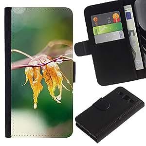 Billetera de Cuero Caso Titular de la tarjeta Carcasa Funda para Samsung Galaxy S3 III I9300 / Nature Water Leaf / STRONG