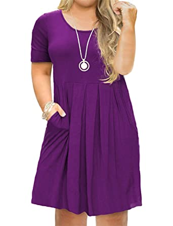 Tralilbee Women\'s Plus Size Casual T-Shirt Swing Dress with Pockets ...
