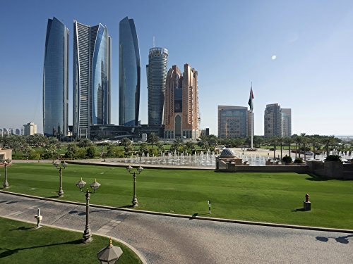 (Posterazzi Etihad Towers and Other Tall Buildings on Corniche Road seen from Upper Driveway Entrance Palace Hotel Abu Dhabi United Arab Emirates Poster Print (12 x 16))