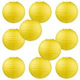 WYZworks Round Paper Lanterns 10 Pack (Yellow, 10'') - with 8'', 10'', 12'', 14'', 16'' option