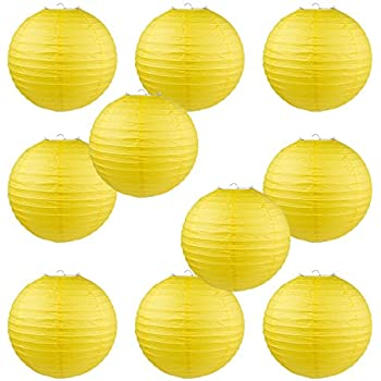 "WYZworks Round Paper Lanterns 10 Pack (Yellow, 8"") - with 8"", 10"", 12"", 14"", 16"" option"