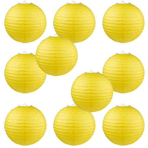 WYZworks Round Paper Lanterns 10 Pack (Yellow, 12