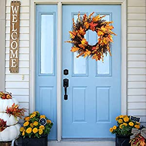 Artificial Sunflower Pumpkin Pinecone and Maple Leaf Wreath with Berry Lights for Halloween and Thanksgiving Home Indoor or Outdoor Arrangement Decoration 3