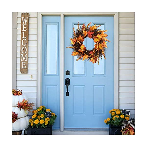 Artificial-Sunflower-Pumpkin-Pinecone-and-Maple-Leaf-Wreath-with-Berry-Lights-for-Halloween-and-Thanksgiving-Home-Indoor-or-Outdoor-Arrangement-Decoration
