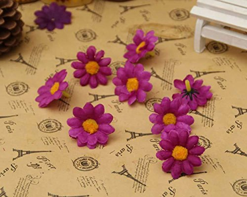 Purple Daisy Flower (100Pcs Artificial Flowers Wholesale Fake Flowers Heads Gerbera Daisy Silk Flower Heads Sunflowers Sun Flower Heads for Wedding Party Flowers Decorations Home D¨¦cor Dark Purple)