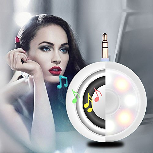 2in1 Selfie Fill Light with Wireless Portable Speaker, BooTaa Rechargeable Mini Beauty Led Ring Fill Light with speaker for iPhone 6/6 plus/6s/6s plus, iPad, Mac Book, Samsung S7/S6, Tablets (White)