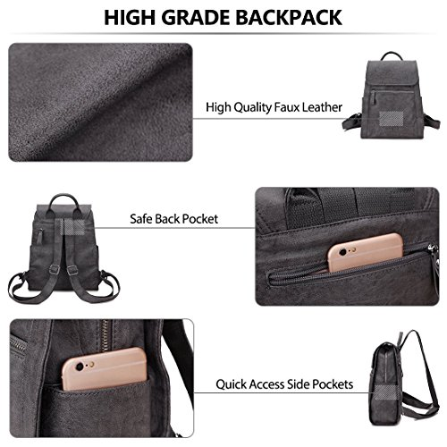 Dark Daypack purse Faux Backpack Girls for women Leather for Grey VONXURY zqwXaw