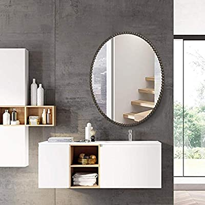 """LEVE Modern Oval Bathroom Mirror Antique Metal Frame Mirror Wall Mounted Bedroom Mirrors (32""""x24"""" Metal Frame) - Dimension: 32""""x24"""", perfect size for daily make up and bathroom decoration. This mirror is durable with 5mm pure sliver lens, authentic sliver mirror adopting International Environmental Standard. Absolutely safety guaranteed wall mirror with explosion-proof membrane, solid core backing and scatter prevention. - bathroom-mirrors, bathroom-accessories, bathroom - 51ZEMSVdSqL. SS400  -"""